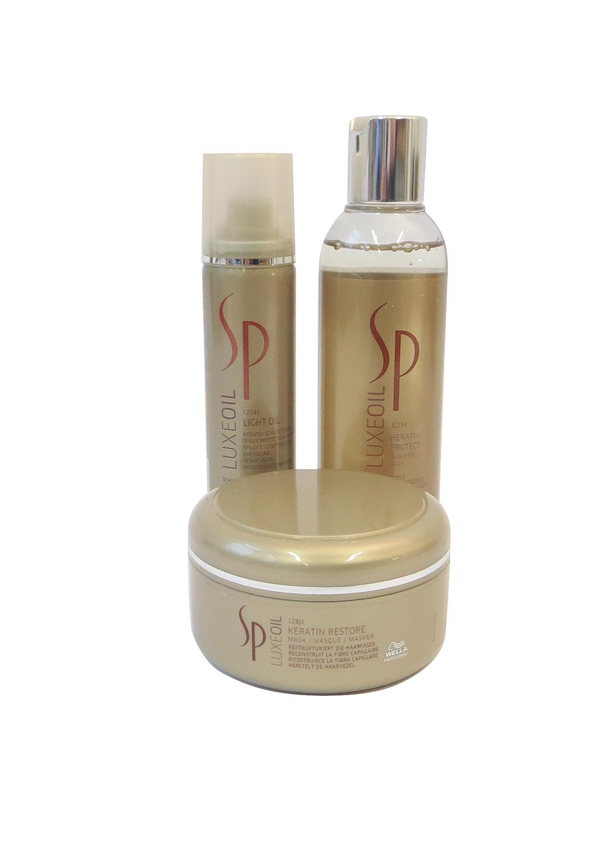 SP Luxe Oil Trio Keratin Protect Shampoo 200ml + Keratin Restore Mask 150ml + Keratin Light Oil Spray 75ml